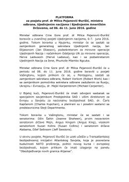 PLATFORMA za posjetu prof. dr Milice Pejanović
