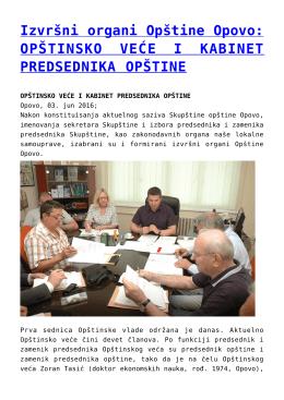 Izvršni organi Opštine Opovo: OPŠTINSKO VEĆE I
