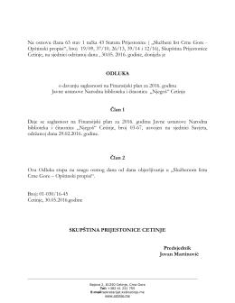 """Na osnovu člana 63 stav 1 tačka 43 Statuta Prijestonice ( """"Službeni"""