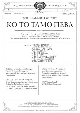 КО ТО ТАМО ПЕВА - Народно позориште у Београду