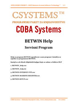 BETWIN Help - COBA Systems,programi za knjigovodstvo