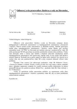 Sprievodný list ku kampani - Odborový zväz pracovníkov školstva a