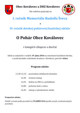 Pozvánka na 1. ročník Memoriálu Rudolfa Šveca, ktorý