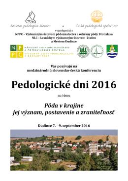 Pedologické dni 2016 - Česká pedologická společnost