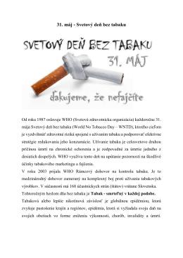 31. máj - Svetový deň bez tabaku