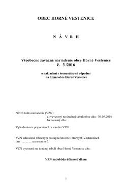 Návrh VZN obce Horné Vestenice č. 3/2016 o nakladaní s