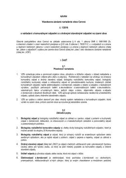 Všeobecne záväzné nariadenie obce Cerová č. 1/2016 o nakladaní