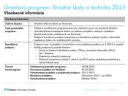 Grantový program: Stredné školy a technika 2015