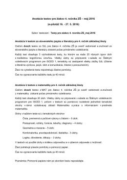 Anotácie testov pre žiakov 4. ročníka ZŠ – máj 2016 (e