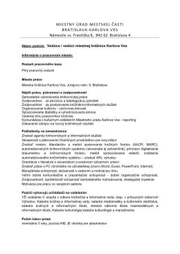 Výberové konanie: Vedúca / vedúci miestnej knižnice Karlova Ves