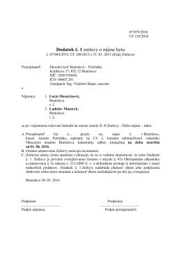 Zmluva č. 201/2016 - Lucia Masaryková, Ladislav Masaryk