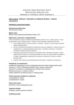 Referent / referentka na oddelenie školstva