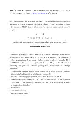 051/4583 139, e-mail: cer - Obec Červenica pri Sabinove