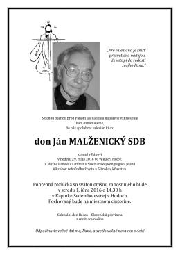 Parte - don Ján Malženický SDB