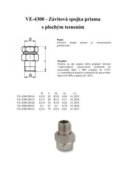 VE-4300 - Závitová spojka priama s plochým tesnením