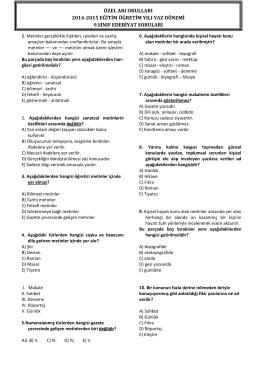 özel arı okulları 2014-2015 eğitim öğretim yılı yaz dönemi 9.sınıf