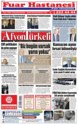 02 haziran 2016 perşembe - Afyon Türkeli Gazetesi haber