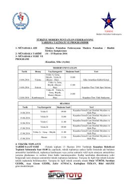 Yarışma Talimatı - TÜRKİYE Modern Pentatlon Federasyonu