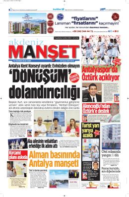 Antalya Kent Konseyi uyardı - Antalya Haber - Haberler