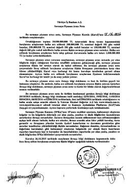 Türkiye İş Bankası A.Ş. Sermaye Piyasası Aracı Notu Bu