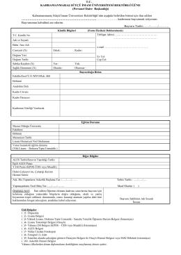 başvuru formu - Kahramanmaraş Sütçü İmam Üniversitesi