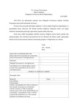 Ön Kayıt Formu - Eğitim Fakültesi
