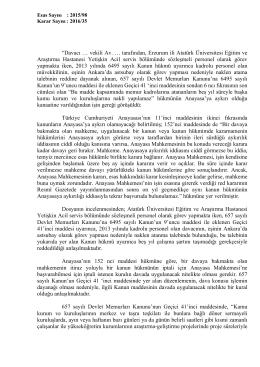 """""""Davacı … vekili Av. … tarafından, Erzurum ili Atatürk Üniversitesi"""
