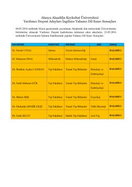 Yardımcı Doçent Adayları İngilizce Yabancı Dil Sınav Sonuçları
