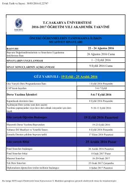 2016-2017 Öğretim Yılı Akademik Takvimi