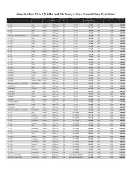 Tüm modeller fiyat listesi - Mercedes-Benz