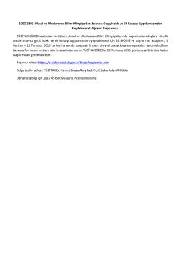 2202-2203-Ulusal ve Uluslararası Bilim Olimpiyatları Sınavsız Geçiş