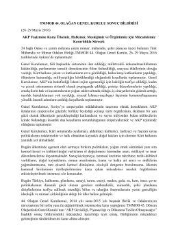 TMMOB 44. OLAĞAN GENEL KURULU SONUÇ BİLDİRİSİ (26–29