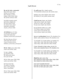 5/7/16 Segâh-Hüzzam Bu aşk bir bahr