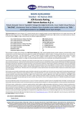 JCR Eurasia Rating, Aktif Yatırım Bankası A.Ş.