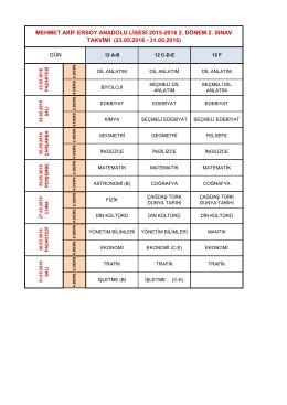 II. Dönem 2. Ortak Sınav Programı