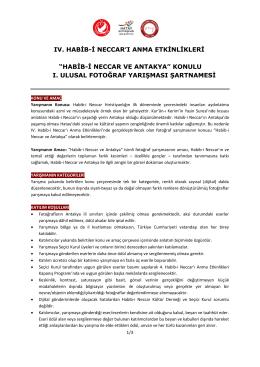 """IV. HABİB-İ NECCAR`I ANMA ETKİNLİKLERİ """"HABİB"""