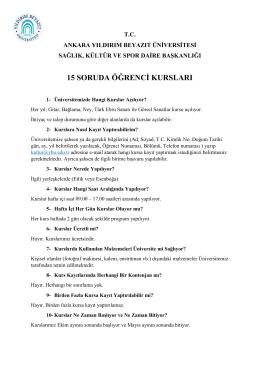 15 Soruda Kurslar - Yıldırım Beyazıt Üniversitesi