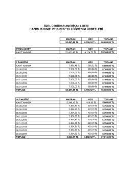 hazırlık sınıfı 2016-2017 yılı öğrenim ücretleri