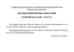 ADI GEÇEN DERSLERİN FİNAL SINAVI TARİHİ 07.06.2016 Saat