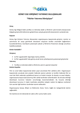"""GÜNEY EGE GİRİŞİMCİ YATIRIMCI BULUŞMALARI """"Fikirler"""