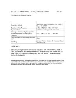 27.05.2016 Avrupa Yatırım Bankası ile İmzalanan Kredi Anlaşması Hk.