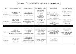 bahar dönemi bütünleme sınav programı