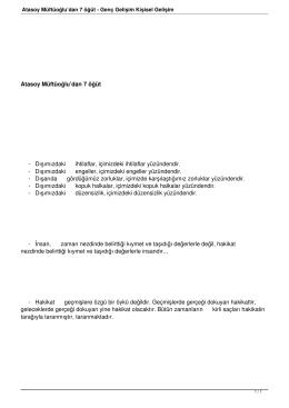 Atasoy Müftüoğlu`dan 7 öğüt - Genç Gelişim Kişisel Gelişim