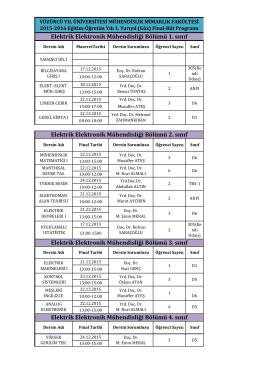 Mazeret Sınavları Programı (Ara Sınav)