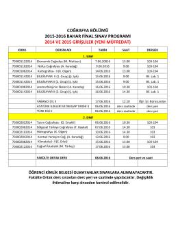 coğrafya bölümü 2015-2016 bahar final sınav programı 2014 ve