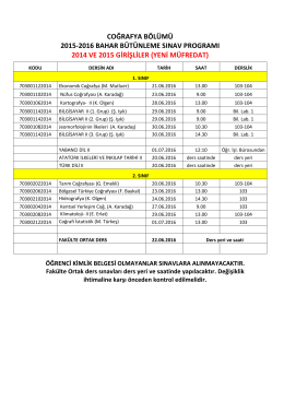 coğrafya bölümü 2015-2016 bahar bütünleme sınav programı 2014