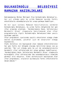 dulkadiroğlu belediyesi ramazan hazırlıkları