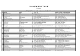 sıramatik sonuç listesi - kastamonu il millî eğitim müdürlüğü