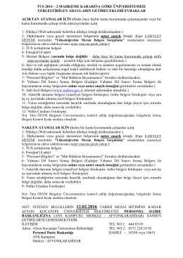 tus 2014 – 2 mahkeme kararına göre üniversitemize yerleştirilen