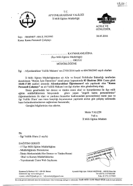 Müdürlüğümüzün konu ile ilgili 30/05/2016 tarih ve 5925995 sayılı